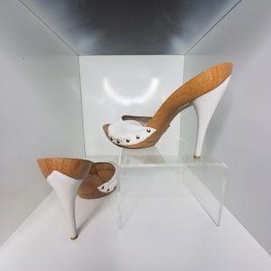 Wooden stiletto heels